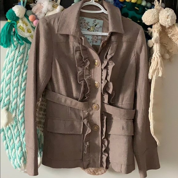 Tabitha Jackets & Blazers - Anthropologie Tabitha Ruffled Peacoat